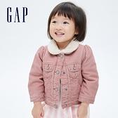Gap嬰兒 燈芯絨加絨翻領外套 708284-粉色