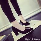 中跟鞋 2021春季新款韓版淺口粗跟尖頭方扣絨面高跟鞋黑色中跟百搭單鞋女 俏girl