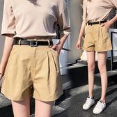 短褲女夏2018新款正韓高腰大碼闊腿學生西褲寬鬆a字熱褲子送腰帶(818來一發)