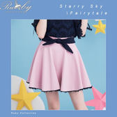 褲裙 下擺鉤花蝴蝶結褲裙-粉紅色-Rubys 露比午茶