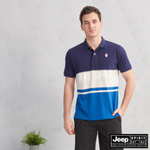 【JEEP】經典LOGO拼接短袖POLO衫(藍色)