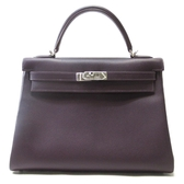 HERMES 愛馬仕 深紫色Epsom leather KellyBag32 手提肩背包 Q刻【二手名牌BRAND OFF】