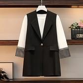 西裝外套馬甲酷女孩穿搭大碼女裝胖妹妹顯瘦遮肉2件套西裝套裝 8687#3F085依佳衣
