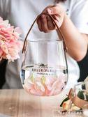 北歐創意玻璃花瓶皮革手提簡約花器家用台面花瓶擺件客廳『韓女王』