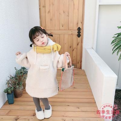 女童棉服 冬款女童加厚衛衣中長款棉衣寶寶加絨羊羔毛外套洋氣大衣韓國童裝【快速出貨】