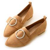 amai親膚皮革-時尚霧面圓環尖頭樂福鞋 棕