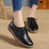 復古英倫繫帶圓頭小皮鞋平底單鞋休閒牛津鞋大碼女鞋  魔法鞋櫃