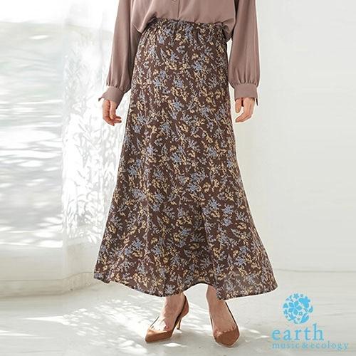 「Autumn」花紋/點點鬆緊腰長裙 - earth music&ecology