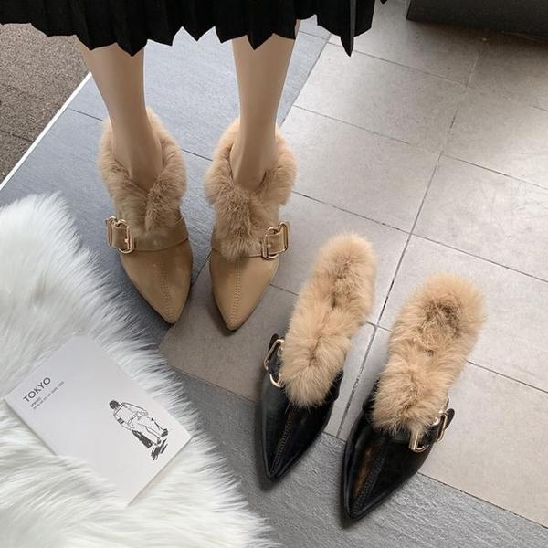 樂福鞋系列 毛毛鞋女秋冬外穿2020新款潮網紅百搭尖頭粗跟懶人鞋樂福鞋 快意購物網