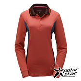 PolarStar 女 竹炭吸排長袖POLO衫『暗橘』P17216 機能衣│刷毛衣排汗│透氣│輕量