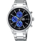 ALBA 雅柏 Prestige 街頭酷流行計時手錶-黑x藍圈/40mm VD57-X079B(AM3333X1)