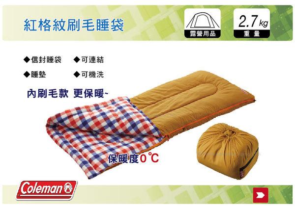 ||MyRack|| Coleman CM-26647 0度紅格紋刷毛睡袋 水桶包睡袋 內刷毛睡袋 可雙拼