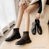 短靴女秋冬季配大衣新款百搭網紅超火潮後拉鍊鉚釘方跟及踝靴(免運快出)