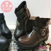 艾妮塔公主。中大尺碼女鞋。經典皮革雙皮釦造型短靴 中統靴(B169) 2色。41 42 43 44 45 碼