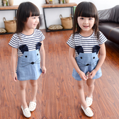 女童洋裝1-2-3-5歲寶寶夏季純棉短袖2020新款夏裝兒童條紋裙子 poly girl
