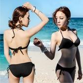 泳衣女韓國分體三點式 性感ins黑色三角比基尼鋼托聚攏藝考比基尼 錢夫人