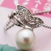 巨安網購【PLGA98】鑲鑽蝴蝶珍珠項鍊