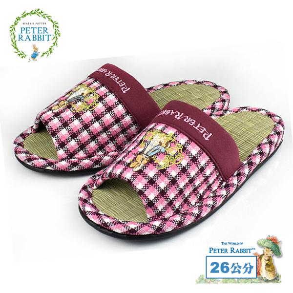 【クロワッサン科羅沙】Peter Rabbit 方格藤蝶素邊草蓆室內拖鞋 (粉26CM)