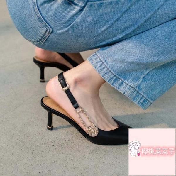 細跟包頭黑色百搭涼鞋女夏設計感小眾氣質裸色高跟鞋女【菜菜子】