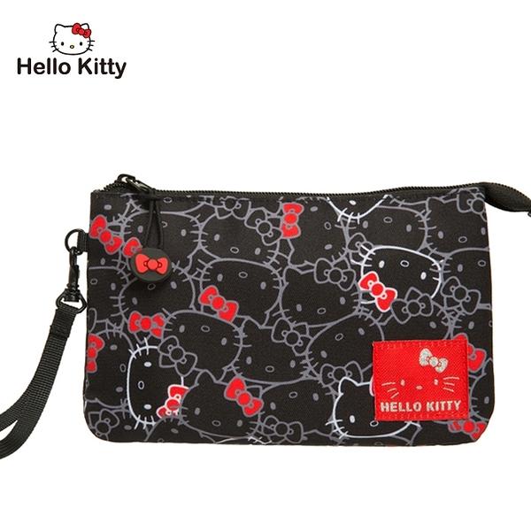 【橘子包包館】Hello Kitty 繽紛凱蒂-手拿包-黑 KT01V04BK