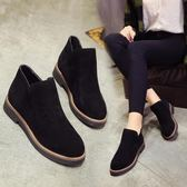 短靴女鞋馬丁靴英倫加絨加棉靴平底切爾西學生女靴子