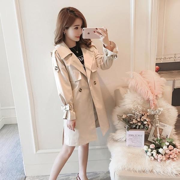 風衣 風衣女中長款2020秋季新款正韓流行修身小個子外套春秋裝