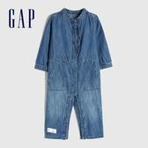 Gap嬰兒 舒適青年布圓領長袖包屁衣 616350-藍色