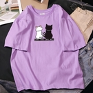 【Charm Beauty】紫色 短袖t恤女 2021年 新款 夏裝 韓版 寬鬆 短款 怪味 a字 上衣T桖ins潮
