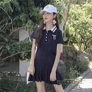 復古港味T恤女短袖韓版百搭長款百褶Polo領個性體恤