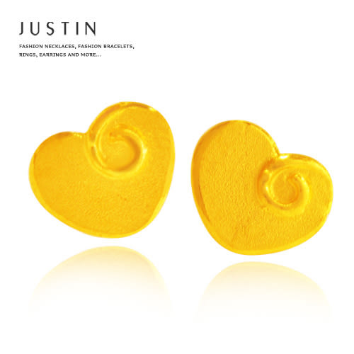 Justin金緻品 黃金耳環 甜心蜜意 捲心糖果 金飾 9999純金耳環 愛心造型 情人節