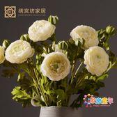 裝飾仿真花 植毛露蓮花瓶客廳家居飾品餐桌陶瓷花器整體花藝擺設 XW