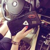 潮流時尚錢包 韓版新款皮質錢包 中長款錢包個性鉚釘錢夾手機包潮