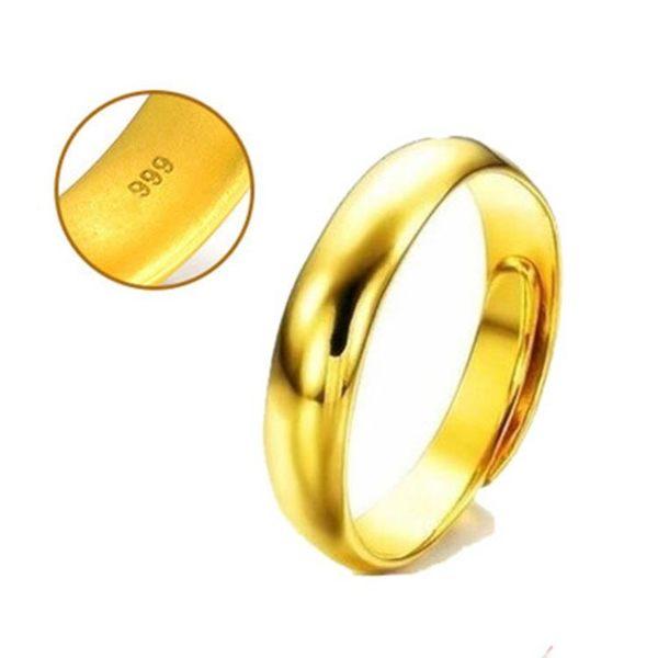 虧本衝量-越南沙金男女光面戒指鍍假黃金飾品24k999純金色久不掉色首飾 快速出貨