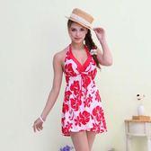 ★奧可那★ 時尚紅花外罩衫比基尼