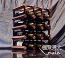 實木木質紅酒格子架橡木創意小原木SMY4923【極致男人】