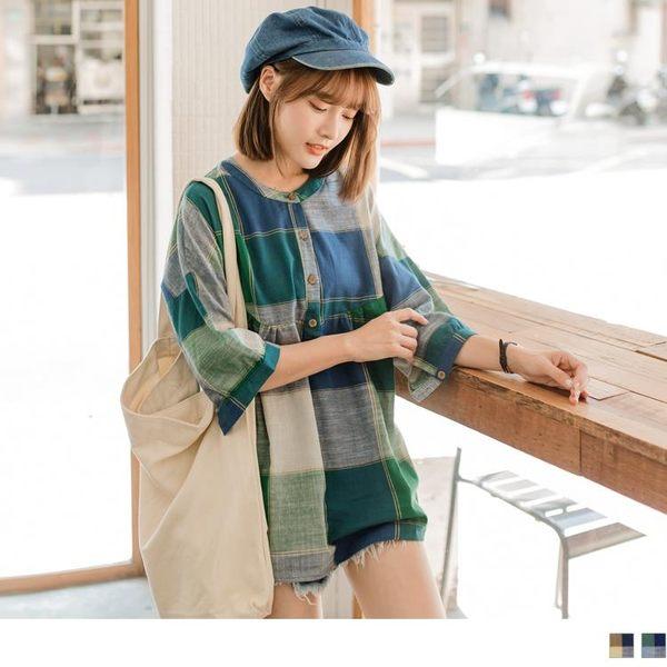 《AB4646-》撞色格紋娃娃裝感七分袖高含棉長版上衣.2色 OB嚴選