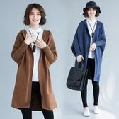 秋冬女裝新款復古文藝胖mm大尺碼寬鬆連帽蝙蝠開衫毛衣針織外套 降價兩天