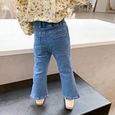 小童春裝牛仔褲韓版洋氣兒童秋款長褲女寶寶秋季時髦開叉喇叭褲潮 韓語空間