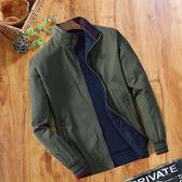 中年男士夾克春秋季立領純棉夾克衫爸爸裝雙面穿休閒男裝薄款外套【跨年交換禮物降價】