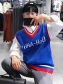 韓版秋裝V領無袖背心針織衫男士學院風馬甲線衣學生打底衫毛衣潮