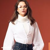 【SHOWCASE】翻領彈性雙織紋針織上衣(白)
