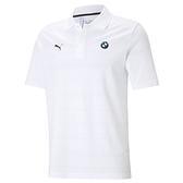Puma BMW 白色 男款 短袖 POLO衫 上衣 運動 高爾夫 排汗 棉質 透氣 條紋 polo衫 59952402