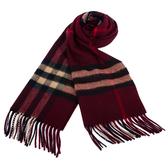 BURBERRY經典格紋喀什米爾羊毛圍巾(酒紅色)089510-6
