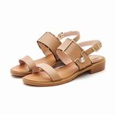 MICHELLE PARK 夏日邂逅 雙層微豹紋方形飾釦水鑽涼鞋-卡其