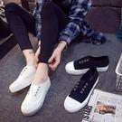 白色帆布鞋 一腳蹬女鞋小白鞋【莎芭】