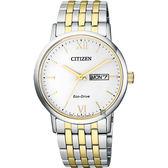 CITIZEN 星辰 光動能新時代腕錶-白x雙色版/37mm BM9014-82A