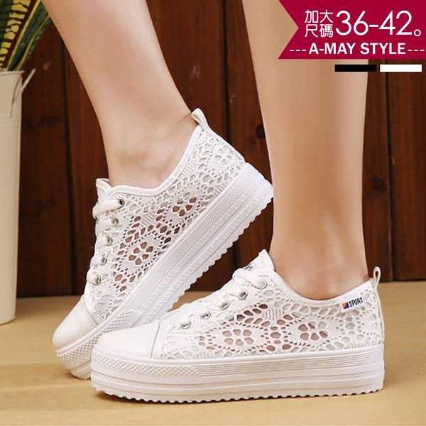 休閒鞋-蕾絲透膚厚底帆布休閒鞋(36-42加大碼)