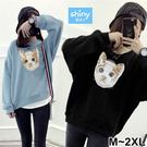 【V2573】shiny藍格子-俏麗時尚.貓咪印花圓領寬鬆長袖上衣