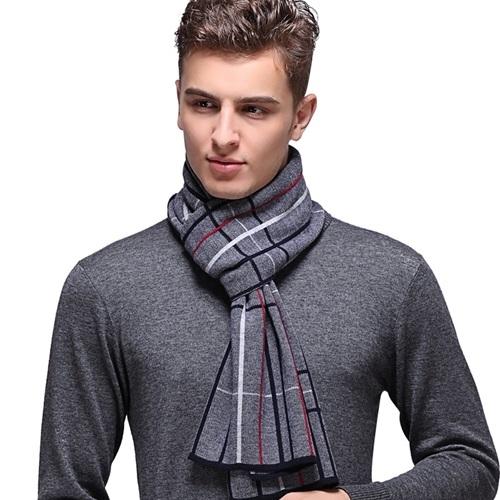 羊毛圍巾-時尚英倫格紋針織男披肩3色73wh82【時尚巴黎】