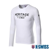 K-SWISS Heritage Flag Tee印花長袖上衣-男-白